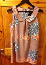 Orange/blue Dorothy Perkins Peter Pan Collared Sleeveless Dress Size 10 BNWT