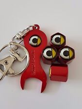 SMART CAR RED Wheel Valve Dust caps & Spanner Keychain ALL MODELS FORFOUR FORTWO