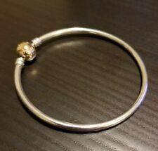 Authentic!! PANDORA Silver Charm Bracelet with 14K Gold Clasp