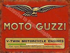 Vintage Garage Moto Guzzi, 121, Italian Motorcyles V-twin, Small Metal/Tin Sign
