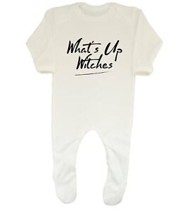 What's Up Witches Funny Halloween Baby Grow Sleepsuit Boys Girls