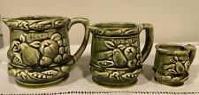 TILSO Lot of 3 Creamers Measuring Cups Mixed Sizes Japan Green Ceramic Fruit
