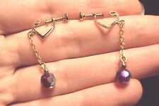 faceted iridescent red crystal ball dangle gold tone heart screw back earrings