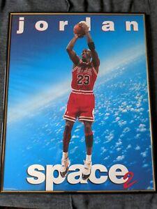 """Vintage Michael Jordan Space 2 Poster 16""""x20"""" Chicago Bulls framed. Dream team"""