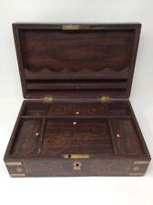 Antique Wooden Brass Bound Writing Stationery Box 36 x 22.5 x  23 cms