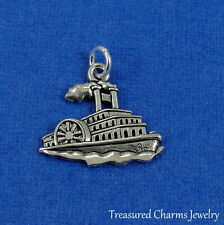 Silver Steamboat Charm - Steamship Steamer Nautical Boat Ship Pendant NEW
