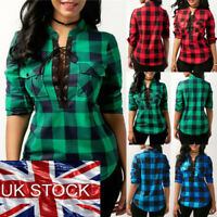 Women Lace Up Plaid Checked Tee T-Shirt Ladies Casual Shirts Tops Blouse UK ILC