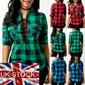 Women Lace Up Plaid Checked Tee T-Shirt Summer Casual Shirts Sexy Tops Blouse