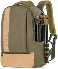 "K&F Concept Professinal Canvas Camera/14"" Laptop Backpack Bag with Rain Cover"
