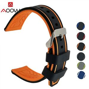 Waterproof Silicone Watch Band 20mm 22mm 24mm 26mm Rubber Soft Watch Strap New