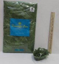 "Ceramic Appolia Pottery Green Leaf Shaped Dish Bowl & 60"" Green Vinyl Tablecloth"