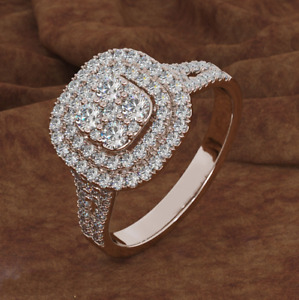 18K Rose Gold Cubic Zirconia CZ Band MICROPAVE Women Engagement Ring Sz 6-10 Box