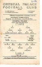 Crystal Palace v West Ham Reserves Programme 2.9.1961