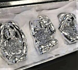 3 Set CRUSHED WISE MONKEYS Crystal Diamond Ornament Mille See Hear Speak  Latest