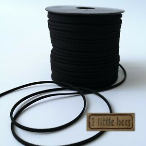 Faux Suede Leather Cord  Black Thong Jewellery String Craft Velvet  DIY UK