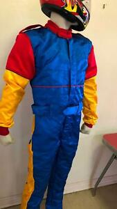 Go Kart Suit. Blue, gold and red   Size medium