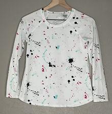 Girls Justice Size 8 White Paint Splattered Long Sleeve T Shirt Size 14/16