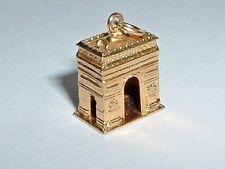 VINTAGE 18K YELLOW GOLD 3D ARCH DE TRIOMPHE PARIS ARC CHARM 14k gold bail