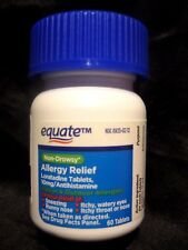 "EQUATE 24hr NON-DROWSY ALLERGY RELIEF ""COMPARE TO  CLARITIN"" 60 TABLETS JUN 2018"