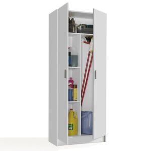 VITA Tall 2 Door Broom + Shelf Utility Room White Storage Cupboard Modular