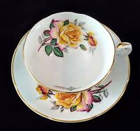 Vintage ROYAL GRAFTON Teacup & Saucer Fine Bone China Yellow Roses Footed Cup