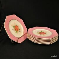 Regal Ware 9 Luncheon Plates 8-Sided Hand Painted Pink Roses w/Gold 1921-1925