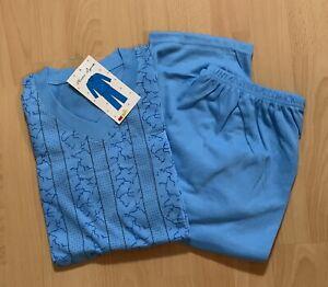 TOP Herren Schlafanzug Pyjama Gr. M bis 3XL türkis blau gemustert NEU