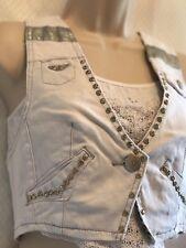 CHIQLE Denim Vest Junior Medium Women's White Full of rhinestones and studs