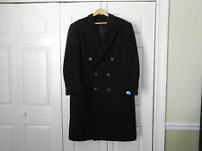 Mens Dark Grey/Black Wool Blend Overcoat Long Jacket Trench Coat