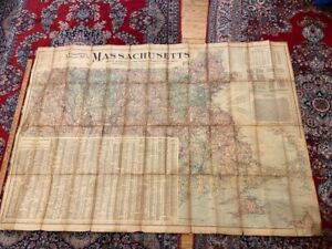 """c1904 Massachusetts Map Scarborough's topographic 39 x 57"""" canvas backed"""