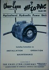 Char-Lynn PTO Hydraulic Pump Hi-Lo-Pac Tractor Owner, Parts & Service (2 Manuals