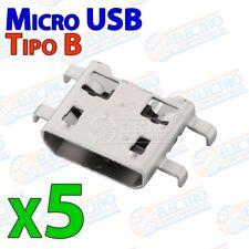 Conector Micro USB Tipo B Hembra soldar SMD patas 90º - Lote 5 unidades - Arduin