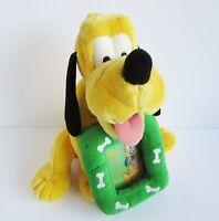 Disney Store Pluto orange dog photo frame soft toy plush bones green