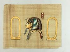 Vintage Karnak Gallery Egyptian Painting on Papyrus  Ramses Type King SIGNED
