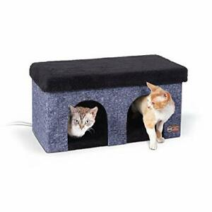 K&H PET PRODUCTS Thermo-Kitty Duplex Indoor Heated Cat House Classy Navy 12 X...