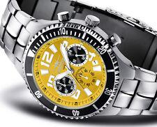 FIREFOX SURFER Chronograph massive Herren- Edelstahluhr FFS13 Blatt sunray gelb