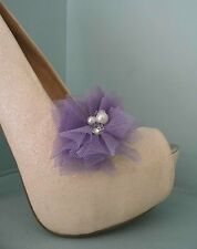 2 Lilac Netted Clips for Shoes with Pearl & Diamante Centre