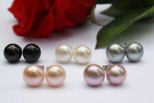 9 mm 7 Farbe Zucht Süßwasser Perlenschmuck Set Ohrringe Ohrstecker  925 Silber