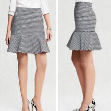 Banana Republic Women Black White Chain Print Brocade Peplum Flare Skirt Size 2