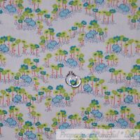 BonEful Fabric FQ Cotton Quilt White Blue Gray Elephant Flower S Calico Baby Boy