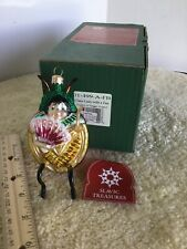 """Clara Lady Bug/Fan"" 5.25"" Slavic Treasures 01-499 H/Blown Glass Ornament 2003"