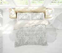 3D Grey Floral Leaves Quilt Cover Set Pillowcases Duvet Cover 3pcs Bedding 160