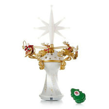 2014 Hallmark HERE COMES SANTA CLAUS TREE TOPPER Magic Cord Light Chimes REMOTE