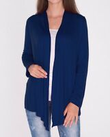 Open Front Navy Blue Draped Cardigan Top Shirt Sweater Career SML/Plus Size