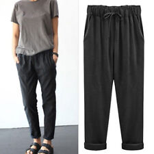 Womens High Waisted Harem Long Pants Elastic Waist Solid Casual Cargo Trousers