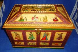 Vintage Old Look Decorative Mughal Islamic Hand Painted Camel Bone Jewelry Box