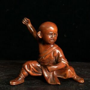 Collect Old Boxwood carved china shaolin monk Kung fu Statue figurines gongfu