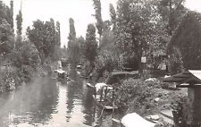 XOCHIMILCO D F MEXICO BOATS ON CANAL REAL PHOTO POSTCARD 1940s