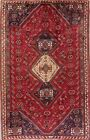 Vintage Geometric Tribal Abadeh Area Rug Wool Hand-Knotted RED Living Room 6'x9'