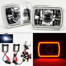 """7X6"""" 8K HID Xenon H4 Clear Glass CCFL Red Halo Projector Headlight Pair Jeep"""
